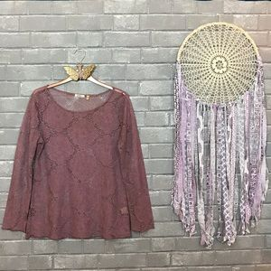 💫 dylan // dusty mauve pink medallion lace top s